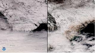 Polvo y arena del Sahara sobre la nieve de Europa del Este