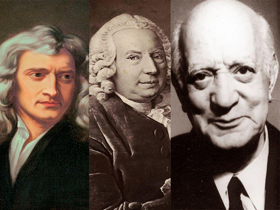 De izquierda a derecha, Isaac Newton, Daniel Bernoulli y Henri Coanda.