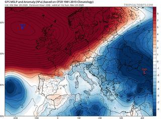 Potente anticiclón de récord en el Atlántico Norte