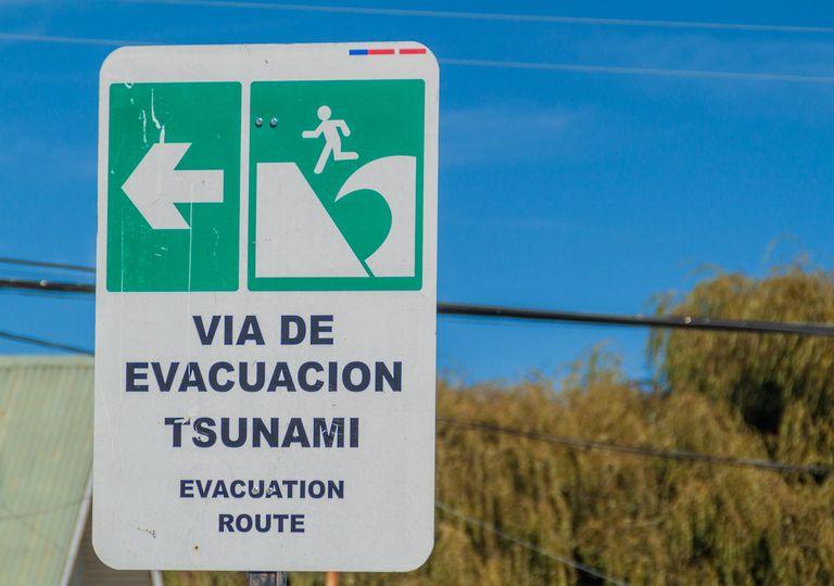 Tsunami sign, Chile earthquake.