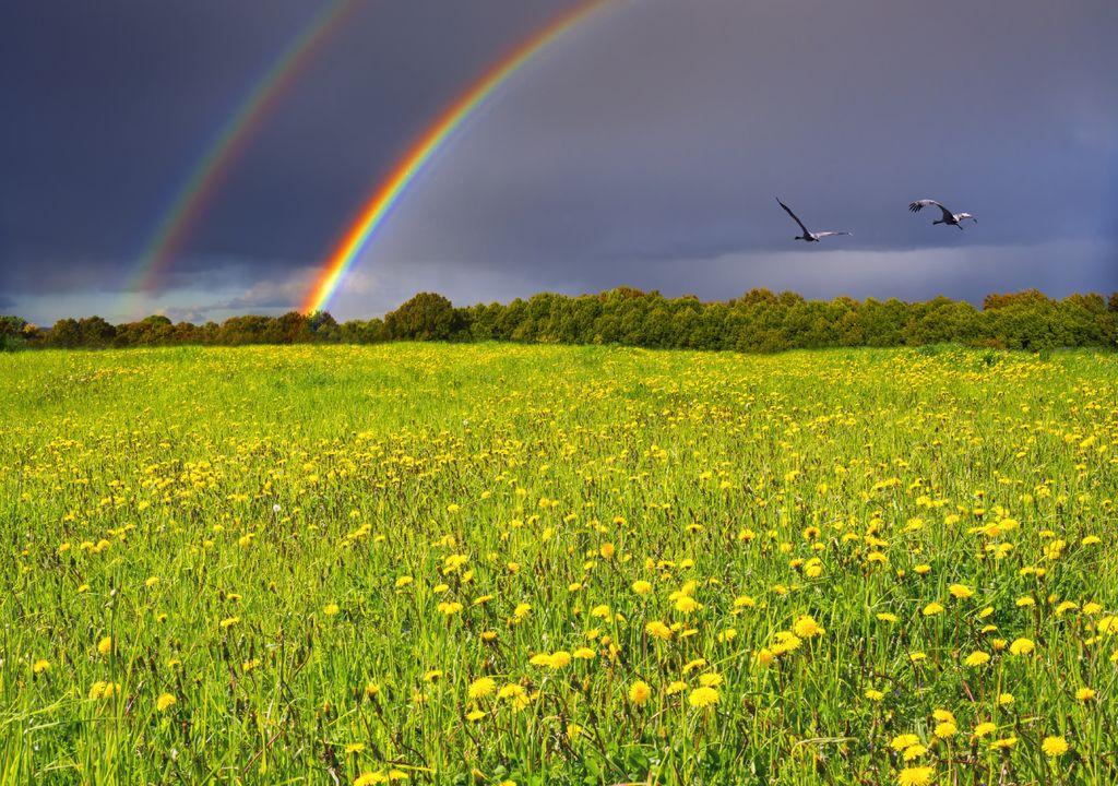tempo variável; maio; arco-íris; calor; chuva