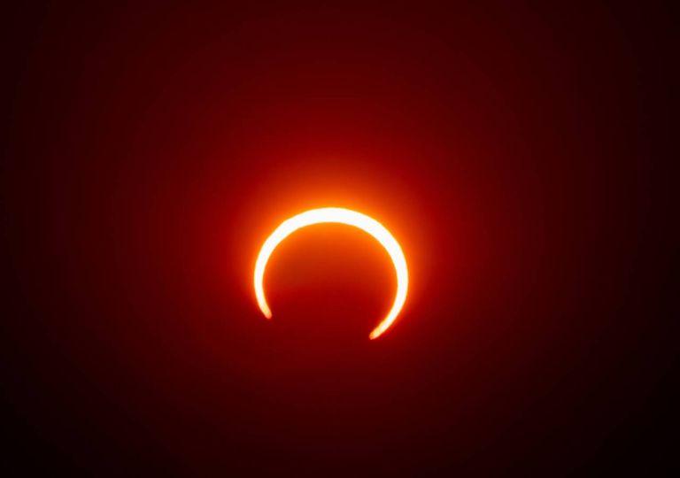 Eclipse Solar Anel de Fogo Sol Lua eclipses 2020