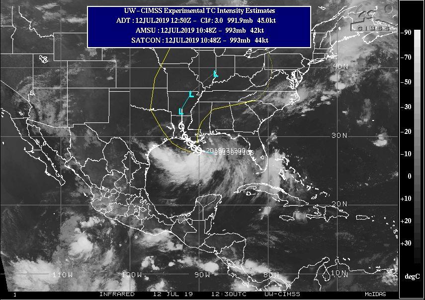 Imagen IR con Barry y trayectoria prevista para el 12 de julio de 2019 a las 12:30 UTC. CIMSS.