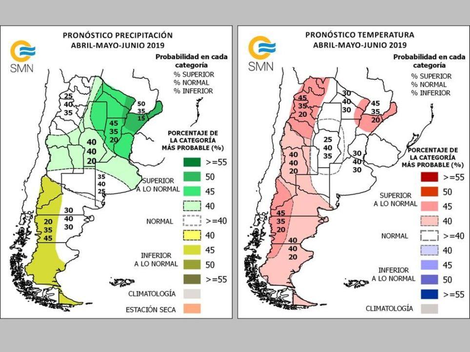 Pronóstico climático trimestral Argentina SMN