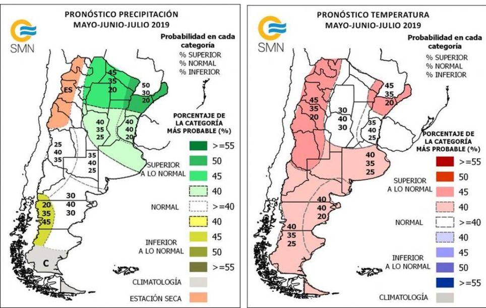 Pronóstico climático trimestral Argentina