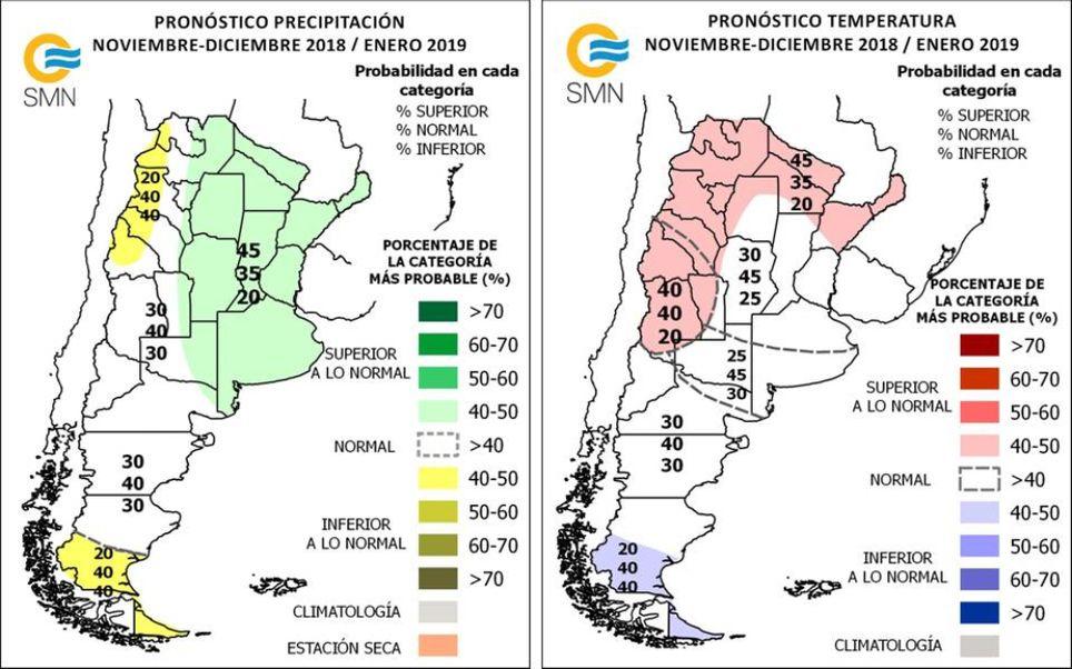 Pronostico climatico trimestral Argentina SMN