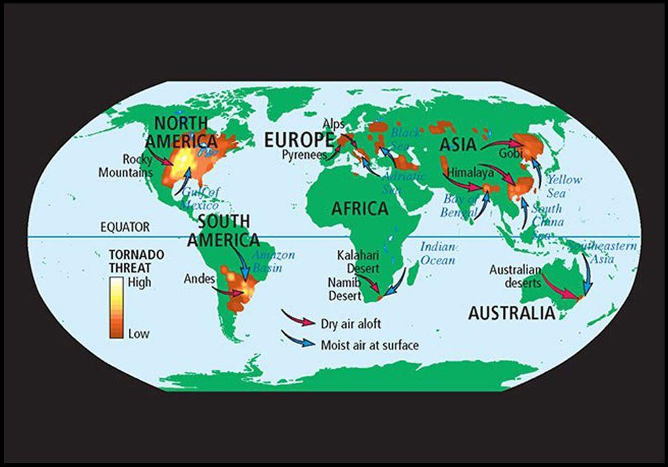 Zonas tornádicas en el mundo