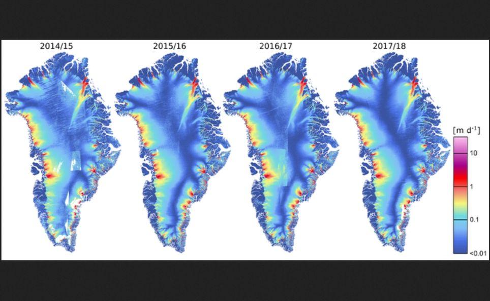 Mapas de la velocidad de hielo de Groenlandia