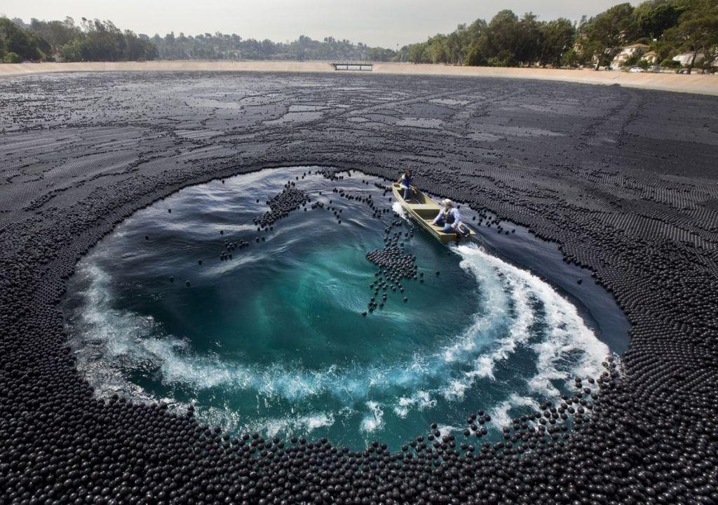 bolas, lago, água, poluição, evaporação