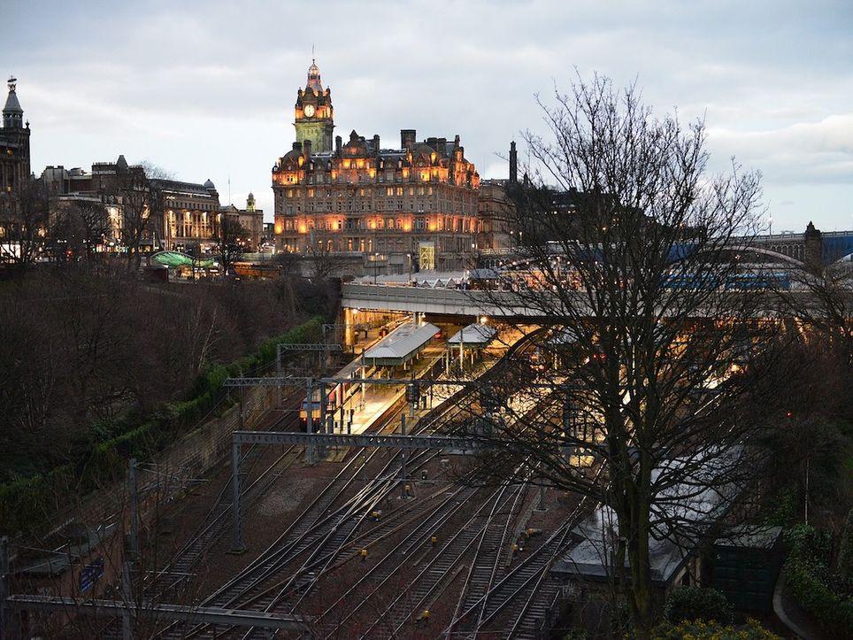 Edinburgh train station.