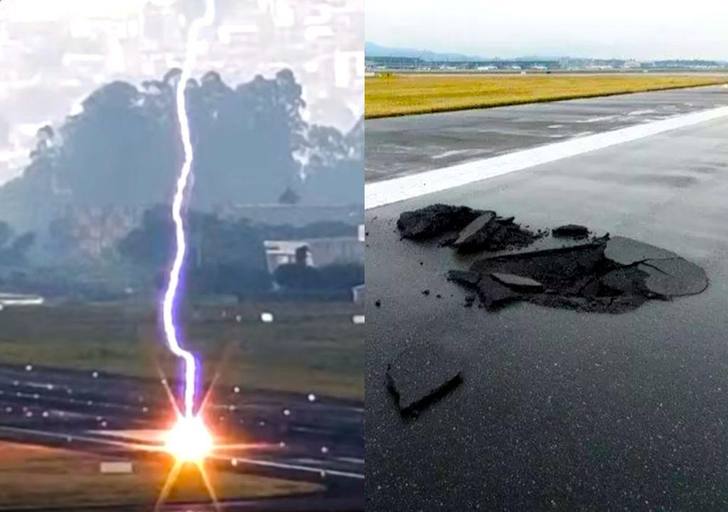 Raio atinge pista do aeroporto de Guarulhos