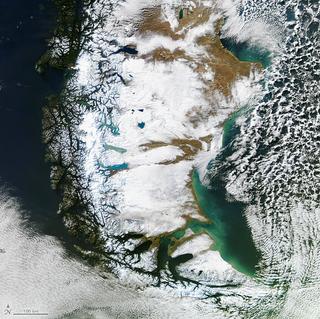 Rara vista de la Patagonia en invierno