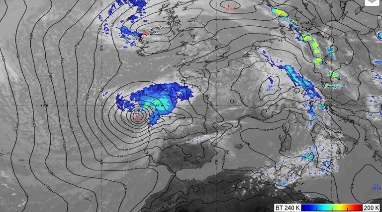 Imagen infrarroja realzada de la borrasca Miguel a las 12 UTC del 6 de junio de 2019 junto con el mapa de presión en superficie del modelo HRES-ECMWF en línea negra. EUMETRAIN
