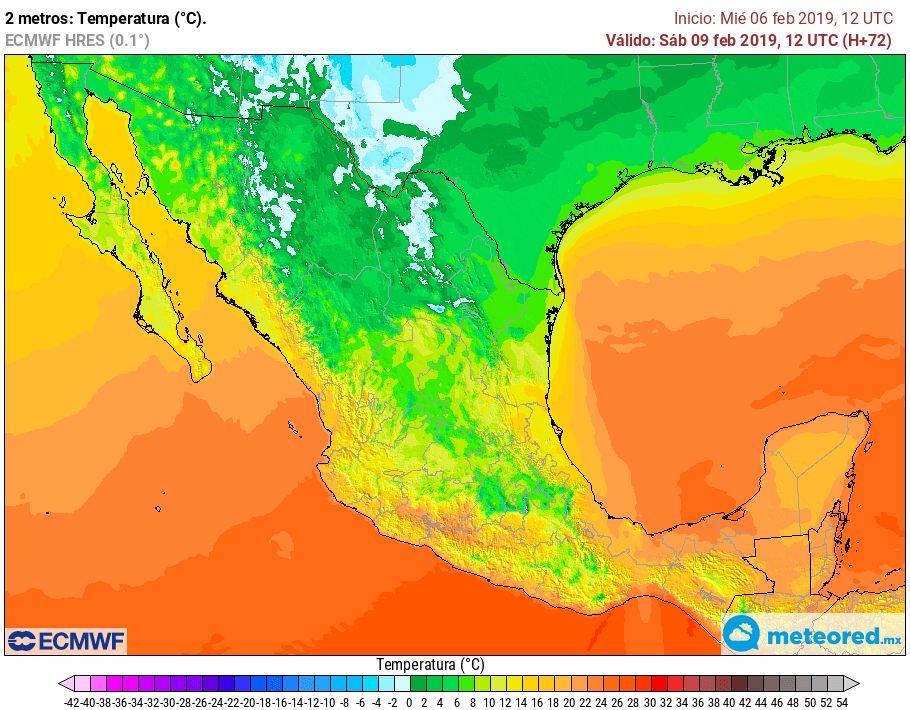 Modelo ECMWF. Temperatura mínima sábado 9 de febrero de 2018