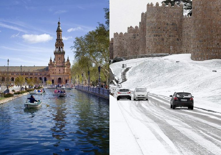 Plaza de España de Sevilla y murallas de Ávila nevadas, ejemplo de los contrates en mayo de 2019