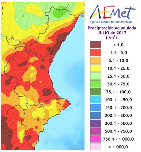 Resumen Climático Del Mes De Julio De 2017 En La Comunidad Valenciana