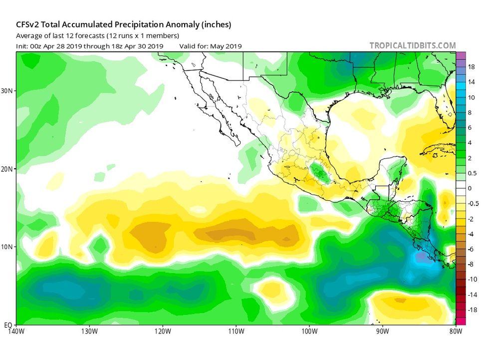 Modelo climático CFSv2 de anomalía de precipitaciones