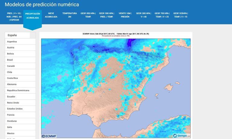 Salidas Gráficas Del Modelo Determinista Del Ecmwf/ Ceppm En Tiempo.com