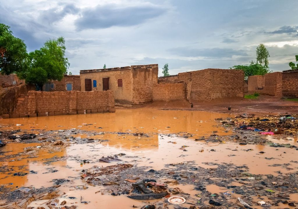Flooded homes, Burkina Faso, West Africa.