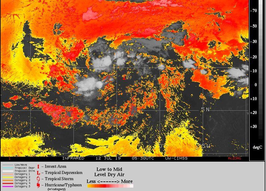 Imagen IR del 12 de julio de 2019 mostrado a al Invest 93L, como I, con zonas secas coloreadas alrededor según escala. CIMSS