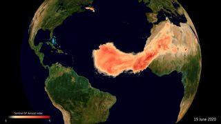 Seguimiento de una irrupción de polvo sahariano por satélite