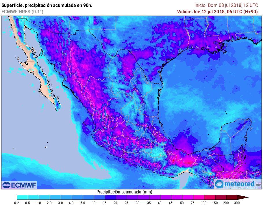 El modelo ECMWF muestra otro inicio de semana con mucha lluvia.