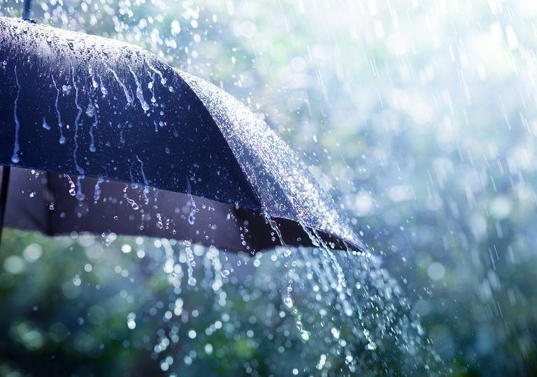 paragüas mojado por la lluvia