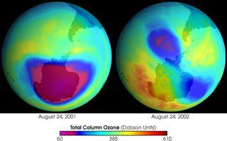 Singularidades en el agujero de ozono antártico durante el 2002