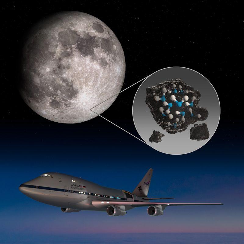 SOFIA descubre agua en la superficie de la Luna iluminada por el Sol
