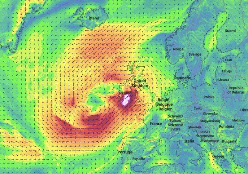 Wind map of Storm Ellen in the UK and Ireland.