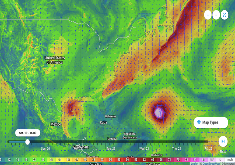 Beta, Wilfred and Teddy storms on wind map.