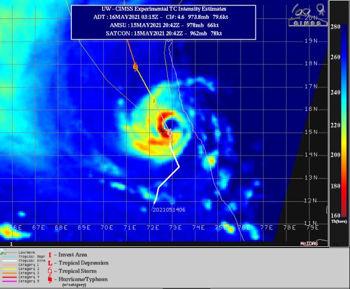 Tauktae se intensifica frente a las costas de la India Occidental