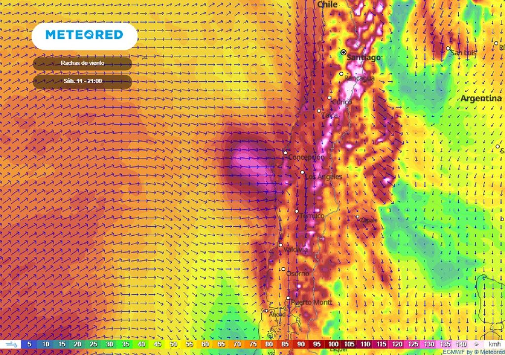 Rachas de viento previstas; modelo del ECMWF