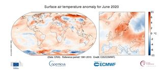 Temperaturas en junio de 2020 a nivel global: muy cálidas