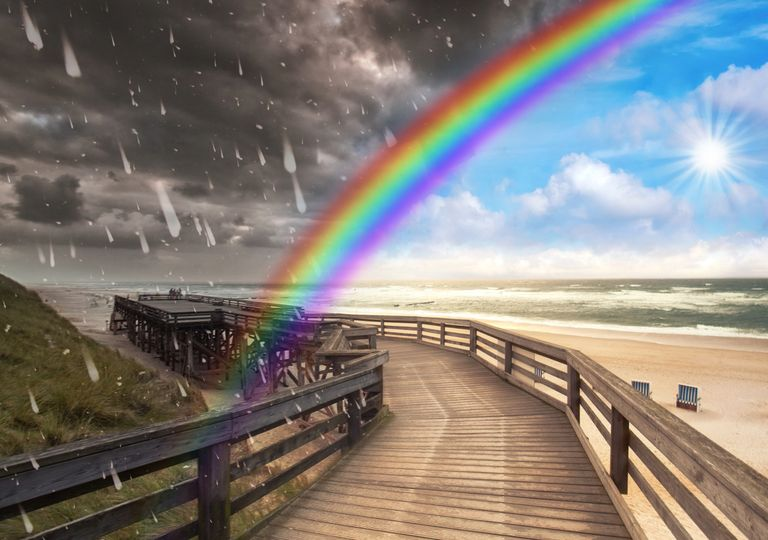 Sol; arco-íris; chuva e trovoada
