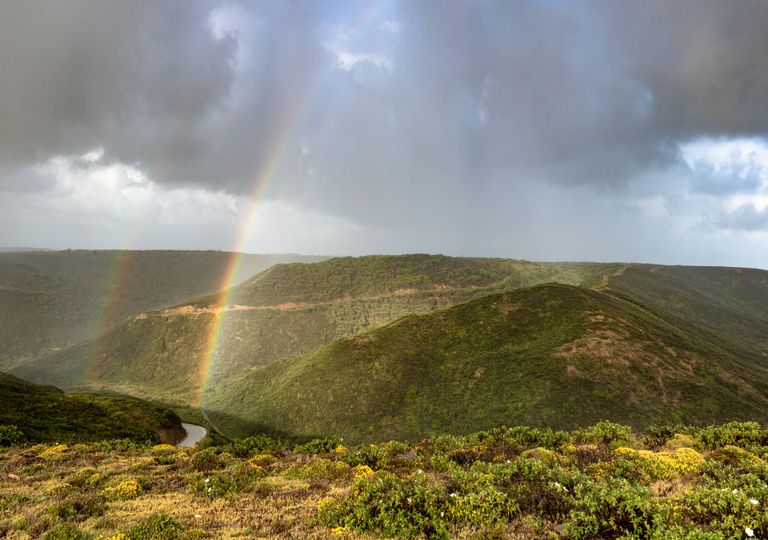 Arco-íris; Costa Vicentina; sol; chuva; aguaceiros