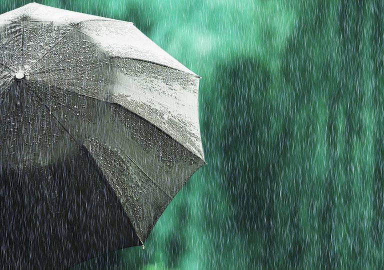 Guarda-chuva visto detrás e chuviscos