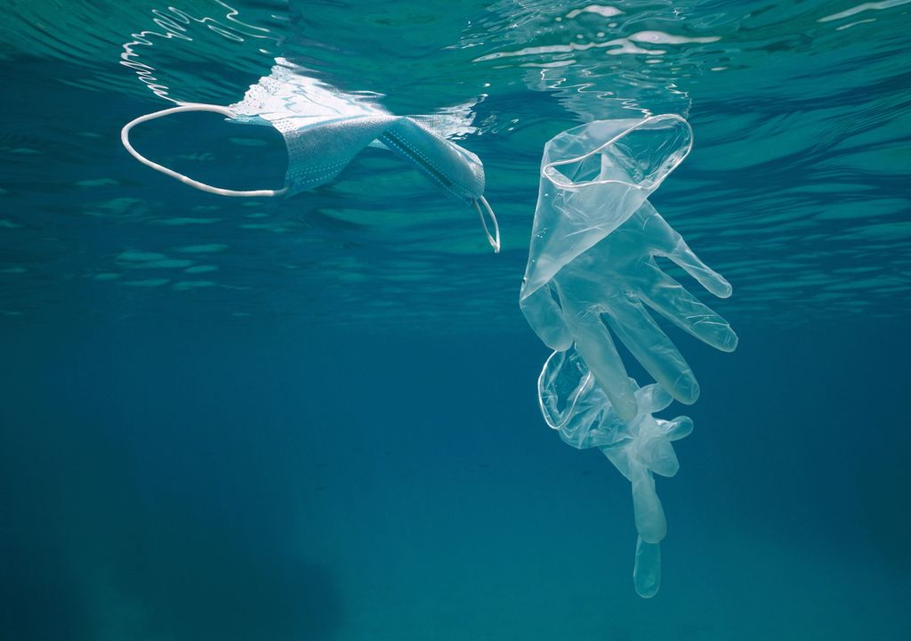 PPE equipment such as face masks and plastic gloves can end up in the ocean.