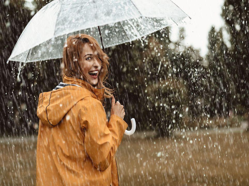 Outdoors in waterproofs.