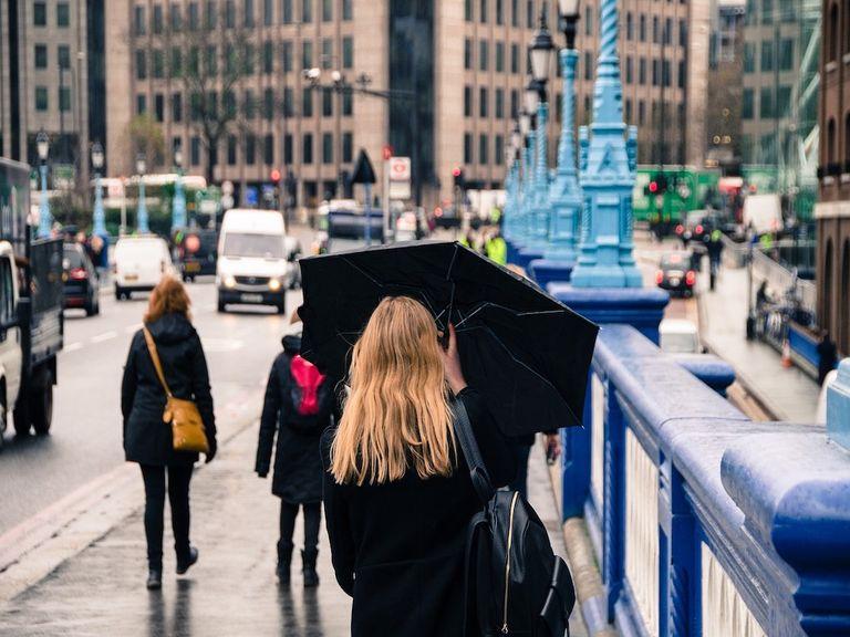 Umbrellas and rain.