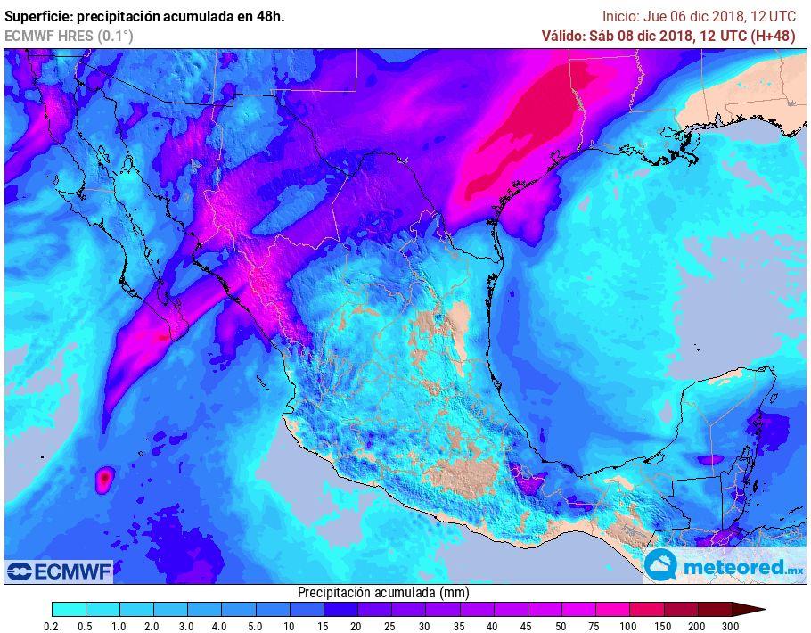 Modelo ECMWF. Precipitaciones acumuladas próximas 48 horas