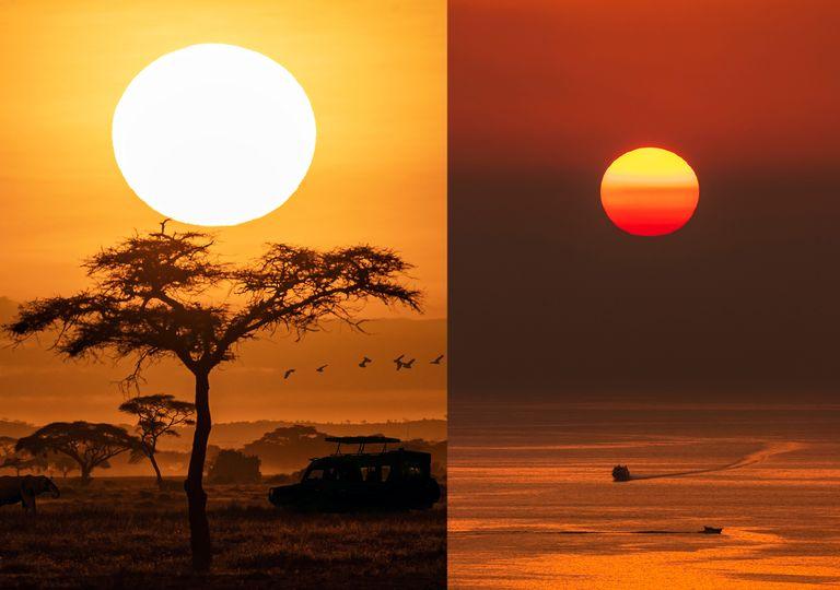 La dispersión de la luz por las partículas atmosféricas provoca el color rojizo en el astro rey cuando está cerca del horizonte.