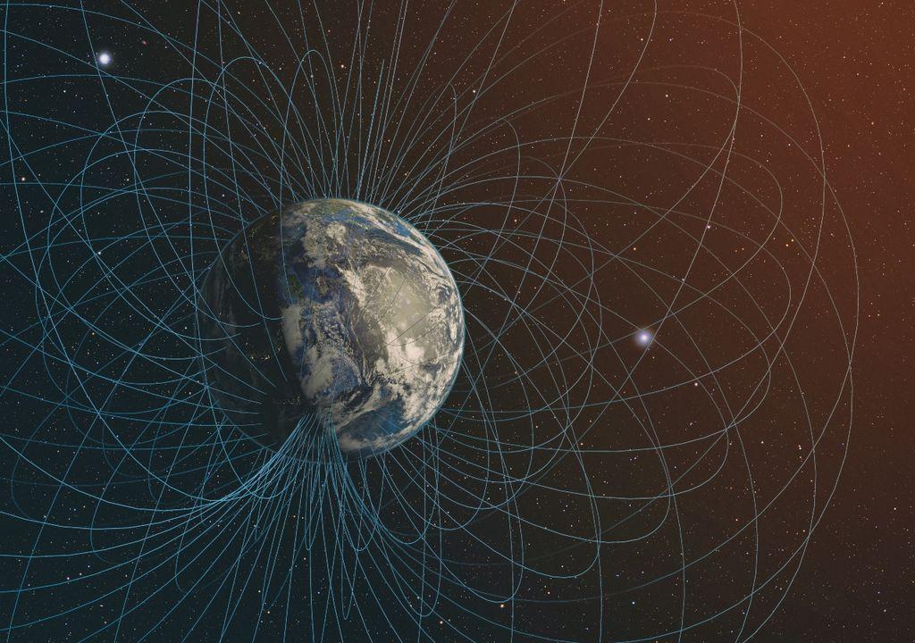 campo magnetico, tierra, anomalia, satelite, espacio