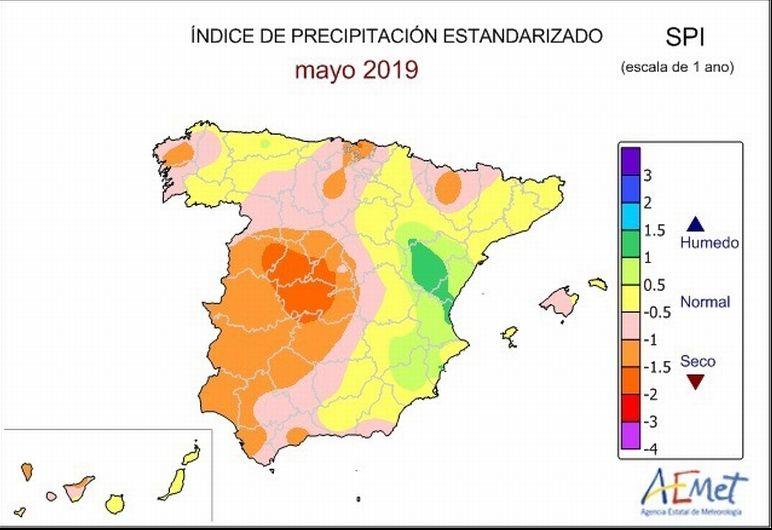 Índice de Precipitación Estandarizado para los últimos 12 meses. Valores iguales o inferiores a -1 indican sequía meteorológica, que en ese período temporal está relacionado con las anomalías que se producen en los niveles de los embalses y de las aguas subterráneas.