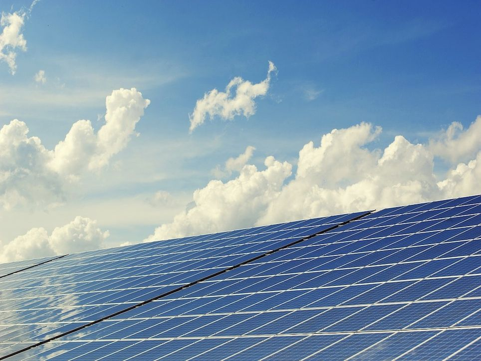 Solar panels can be used in a cloudy sky.