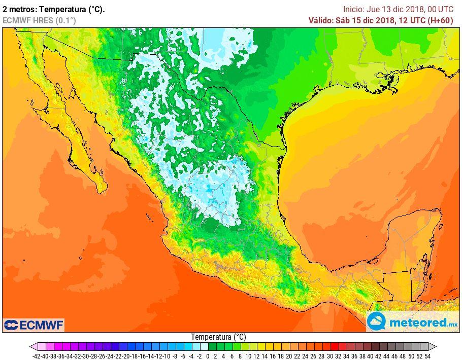 Modelo ECMWF. Previsión de temperaturas mínimas sábado 15 de diciembre de 2018