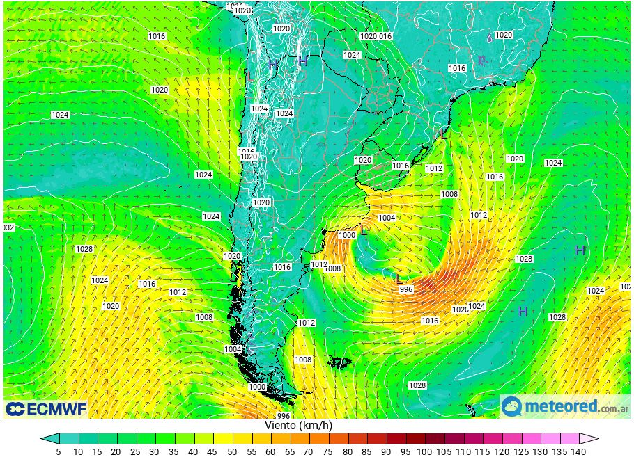Ciclogénesis Alerta vientos ráfagas