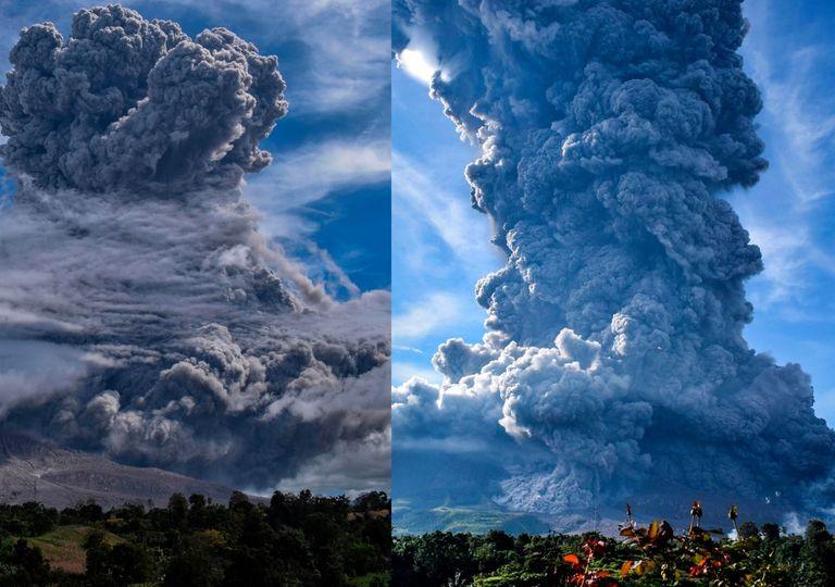 Volcán en erupción en Indonesia