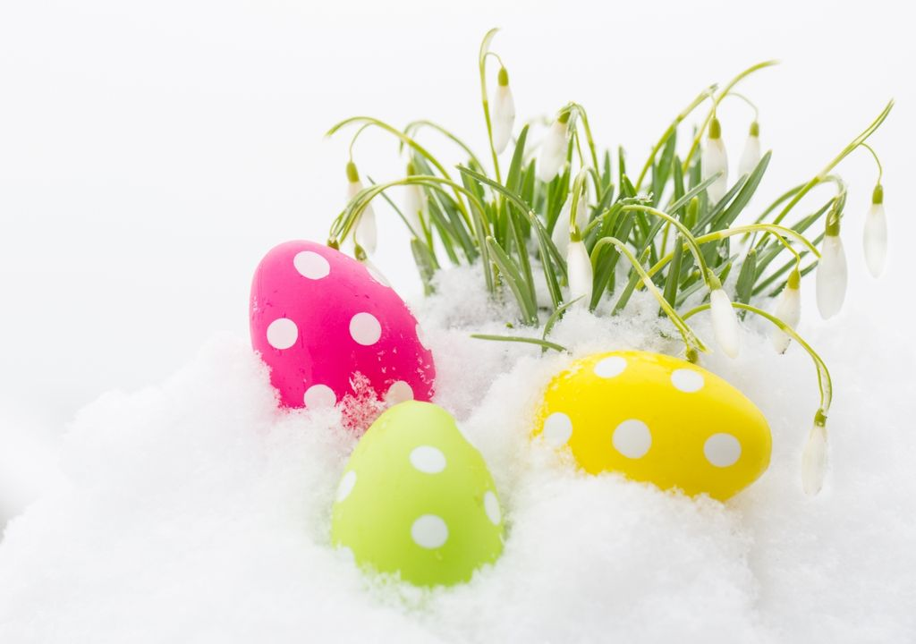 Ostereier im Schnee.