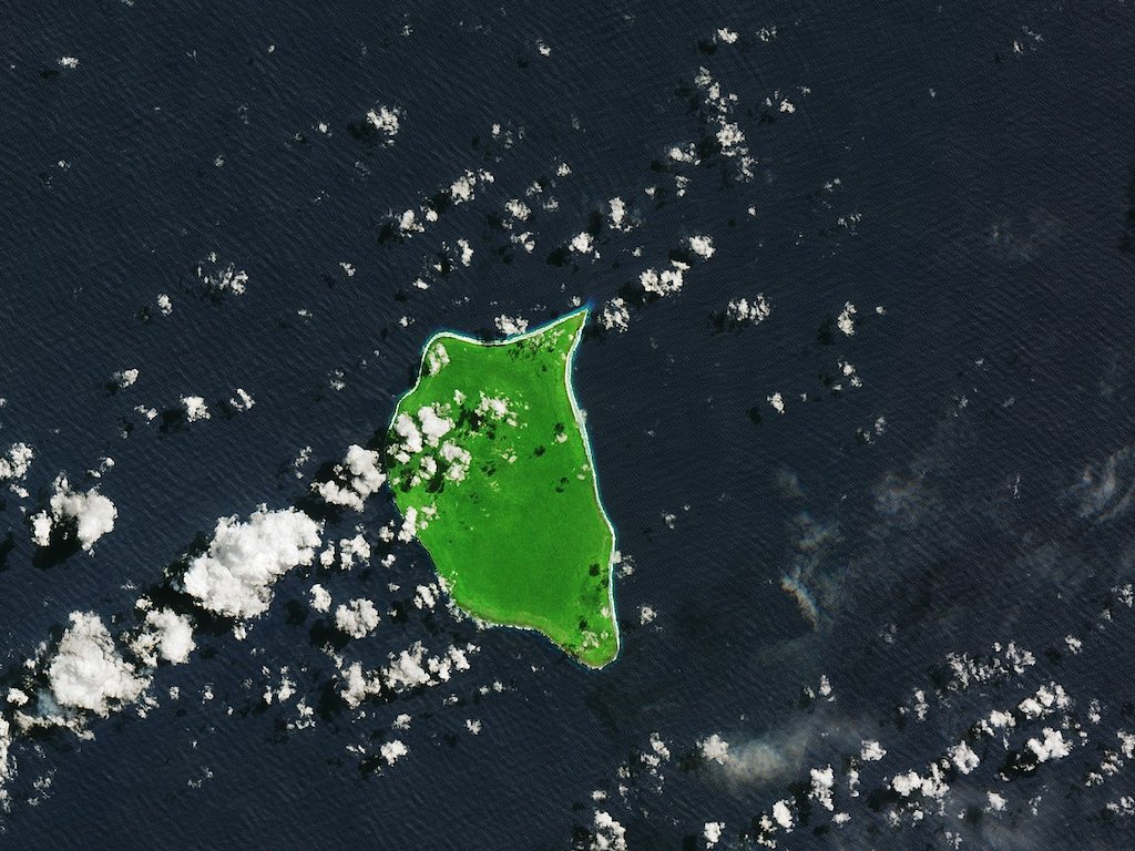 Satellite image of Henderson Island.